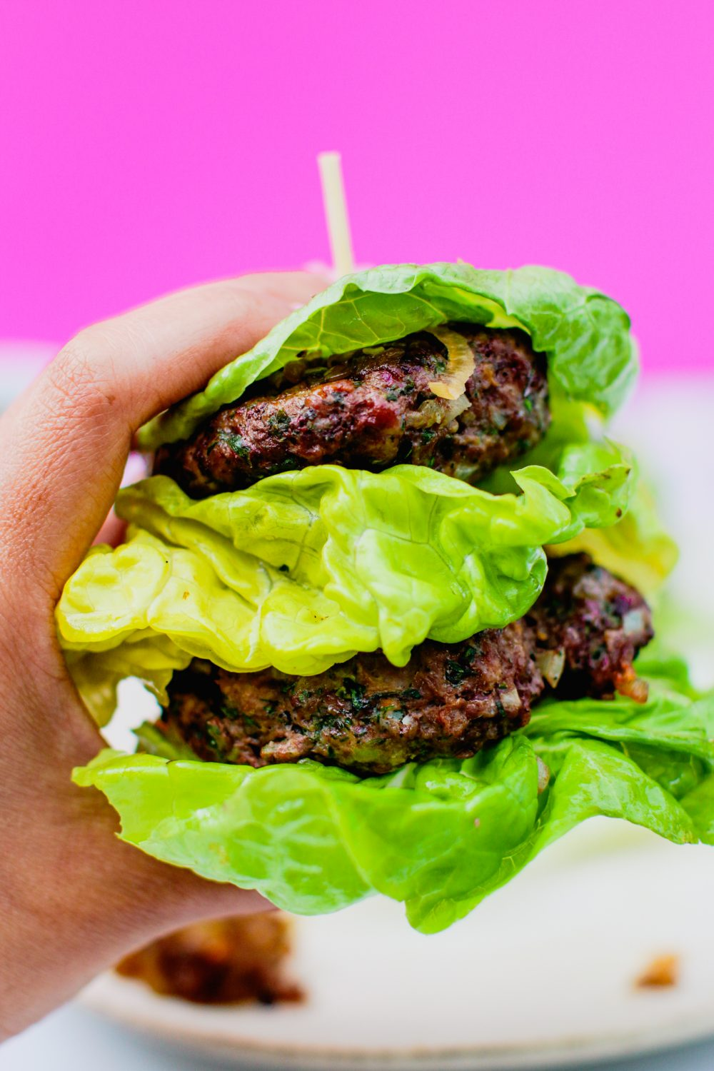 Pegan Burger with Caramelized Shallots
