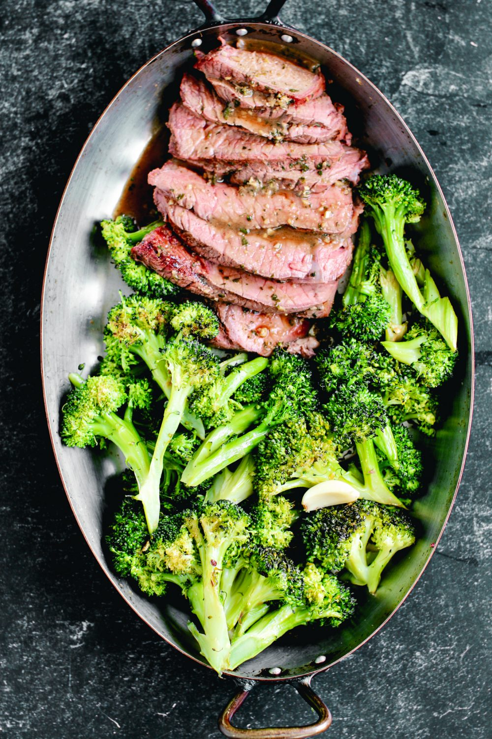 Shasta Cut Steak  with Chili-Roasted Broccoli and Lemons